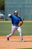 Toronto Blue Jays Miguel Hiraldo (18) during a Minor League Spring Training game against the Detroit Tigers on March 22, 2019 at the TigerTown Complex in Lakeland, Florida.  (Mike Janes/Four Seam Images)