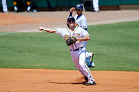 Montgomery Biscuits third baseman Michael Russell (12) throws to first base during a game against the Mississippi Braves on April 25, 2017 at Montgomery Riverwalk Stadium in Montgomery, Alabama.  Mississippi defeated Montgomery 3-2.  (Mike Janes/Four Seam Images)