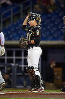Quad Cities River Bandits catcher Trent Woodward (18) during the second game of a doubleheader against the Wisconsin Timber Rattlers on August 19, 2015 at Modern Woodmen Park in Davenport, Iowa.  Quad Cities defeated Wisconsin 8-1.  (Mike Janes/Four Seam Images)