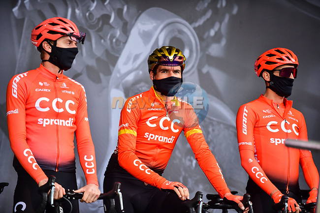Olympic Champion Greg Van Avermaet (BEL) and CCC Team at sign on before Liege-Bastogne-Liege 2020, running 257km from Liege to Liege, Belgium. 4th October 2020.<br /> Picture: ASO/Gautier Demouveaux | Cyclefile<br /> All photos usage must carry mandatory copyright credit (© Cyclefile | ASO/Gautier Demouveaux)