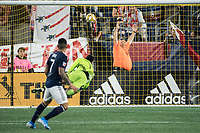 FOXBOROUGH, MA - SEPTEMBER 29: Gustavo Bao #7 of New England Revolution scores the New England second goal during a game between New York City FC and New England Revolution at Gillettes Stadium on September 29, 2019 in Foxborough, Massachusetts.