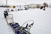 Volunteers Pull Spare Sleds to Airport for Transport Out of McGrath Chkpt