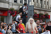 Photographer Matthew Horwood in this year's Pride Parade in the centre of Cardiff, Wales, UK. Sayurday 26 August 2017