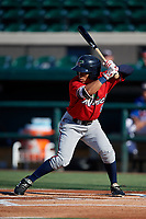 Fort Myers Miracle Gabriel Maciel (8) bats during a Florida State League game against the Lakeland Flying Tigers on August 3, 2019 at Publix Field at Joker Marchant Stadium in Lakeland, Florida.  Lakeland defeated Fort Myers 4-3.  (Mike Janes/Four Seam Images)