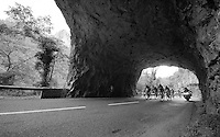 the breakaway group under 1 of the rock tunnels of the Gorges Du tarn <br /> <br /> stage 14: Rodez - Mende (178km)<br /> 2015 Tour de France