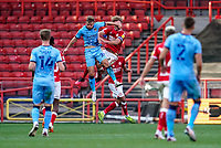 12th September 2020; Ashton Gate Stadium, Bristol, England; English Football League Championship Football, Bristol City versus Coventry City; Matthew Godden of Coventry City swings his arm and catches Tomas Kalas of Bristol City in the face