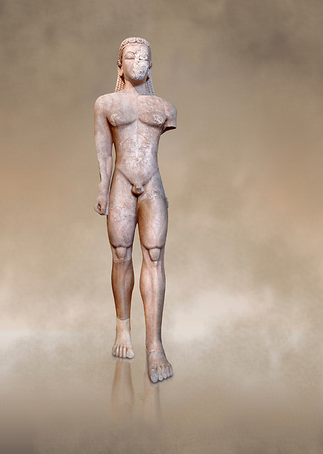 Naxian marble Ancient Greek Archaic statue of a kouros, found in Sounion, circa 600 BC, Athens National Archaeological Museum. Cat no 2720.<br /> <br /> The stature is a voitive offering to Poseidon and stood before his temple. Its over lifesize scale is striking and testifies to the tendency of early Archaic sculptirs to create impressive colossal statues