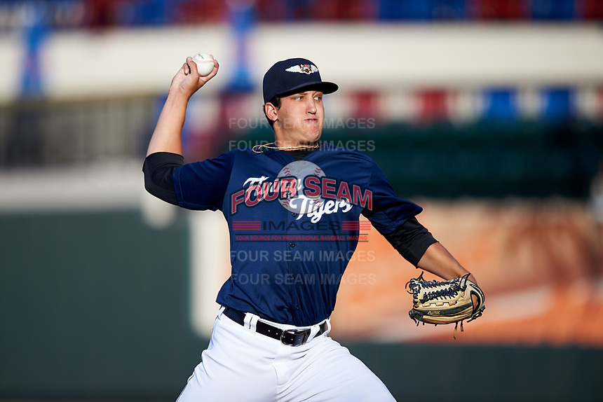 Lakeland Flying Tigers starting pitcher A.J. Ladwig (50) delivers a pitch during a game against the Jupiter Hammerheads on April 17, 2017 at Joker Marchant Stadium in Lakeland, Florida.  Lakeland defeated Jupiter 5-1.  (Mike Janes/Four Seam Images)