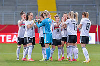 team Germany pictured before a friendly female soccer game between the national teams of Germany and  Belgium , called the Red Flames  in a pre - bid tournament called Three Nations One Goal with the national teams from Belgium , The Netherlands and Germany towards a bid for the hosting of the 2027 FIFA Women's World Cup , on Sunday 21 st of February 2021  in Aachen , Germany . PHOTO SPORTPIX.BE   SPP   STIJN AUDOOREN