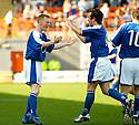 04/09/2004   Copyright Pic : James Stewart.File Name : jspa06_hamilton_v_stjohnstone.MARK BAXTER CELEBRATES WITH STEPHEN MCCONALOGUE AFTER SCORING ST JOHNSTONE'S EQUALISER....Payments to :.James Stewart Photo Agency 19 Carronlea Drive, Falkirk. FK2 8DN      Vat Reg No. 607 6932 25.Office     : +44 (0)1324 570906     .Mobile  : +44 (0)7721 416997.Fax         :  +44 (0)1324 570906.E-mail  :  jim@jspa.co.uk.If you require further information then contact Jim Stewart on any of the numbers above.........