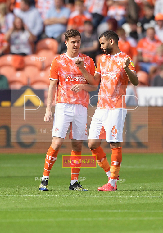 11/09/2021 Sky Bet Championship Blackpool v Fulham<br /> <br /> Kevin Stewart discusses tactics with Ryan Wintle
