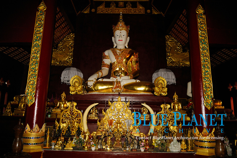 Tall Sitting Buddha covered with gold in a Buddhist temple in Chiang Mai city, Thailand, Southeast Asia. Buddha may be pictured in number of different poses. Most usually he is seated cross legged, which indicated meditation.