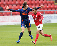 Blackpool's Ethan Robson reacts after being fouled by  Crewe Alexandra's Ryan Wintle<br /> <br /> Photographer Rich Linley/CameraSport<br /> <br /> The EFL Sky Bet League One - Crewe Alexandra v Blackpool - Saturday 17th October 2020 - Gresty Road - Crewe<br /> <br /> World Copyright © 2020 CameraSport. All rights reserved. 43 Linden Ave. Countesthorpe. Leicester. England. LE8 5PG - Tel: +44 (0) 116 277 4147 - admin@camerasport.com - www.camerasport.com