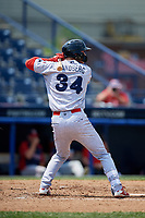 Reading Fightin Phils center fielder Cord Sandberg (34) at bat during the second game of a doubleheader against the Portland Sea Dogs on May 15, 2018 at FirstEnergy Stadium in Reading, Pennsylvania.  Reading defeated Portland 9-8.  (Mike Janes/Four Seam Images)