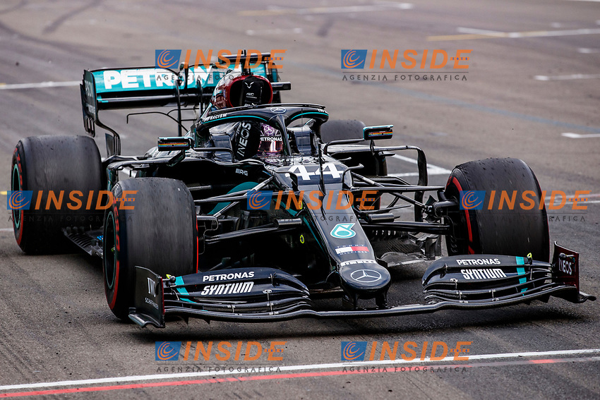 44 HAMILTON Lewis (gbr), Mercedes AMG F1 GP W11 Hybrid EQ Power+, action celebrating his victory during the Formula 1 Aramco Grosser Preis Der Eifel 2020, Eifel Grand Prix, from October 9 to 11, 2020 on the Nürburgring, in Nürburg, Germany <br /> Nurburg Nurburging 11-10-2020 Formula 1 GP Eifel Germania <br /> Foto Dppi/Panoramic/Insidefoto <br /> ITALY ONLY