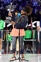 February 20, 2021: 3rd seed Naomi OSAKA of Japan accepts her trophy after defeating 22nd seed Jennifer BRADY of the USA in the Women's Singles Final match on day 13 of the 2021 Australian Open on Rod Laver Arena, in Melbourne, Australia. Photo Sydney Low.