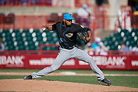 Akron RubberDucks pitcher Dalbert Siri (45) during an Eastern League game against the Erie SeaWolves on June 2, 2019 at UPMC Park in Erie, Pennsylvania.  Erie defeated Akron 8-5 in eleven innings of the second game of a doubleheader.  (Mike Janes/Four Seam Images)
