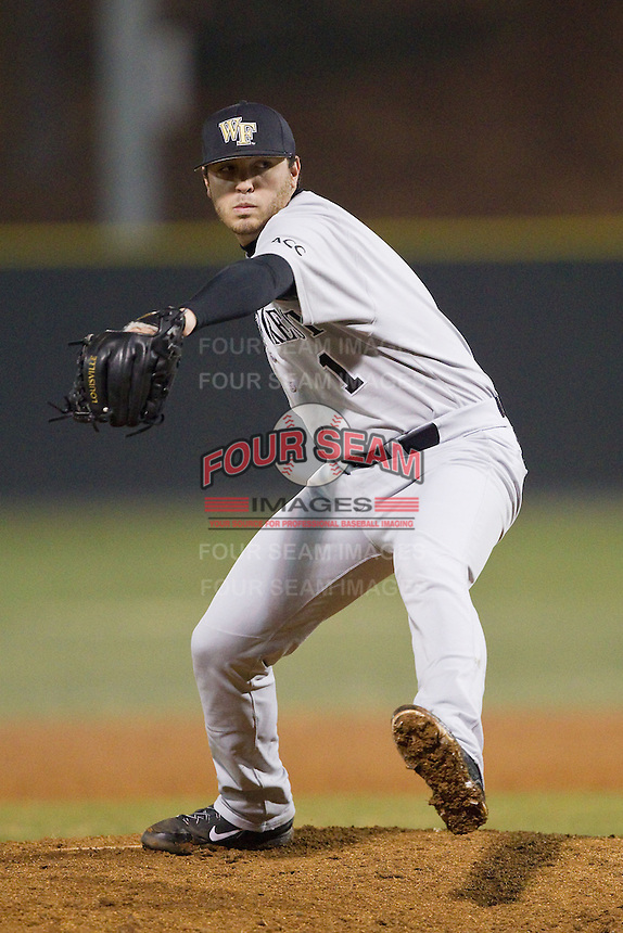 Wake Forest Demon Deacons relief pitcher Matt Pirro (1) in action against the Davidson Wildcats at Wilson Field on March 19, 2014 in Davidson, North Carolina.  The Wildcats defeated the Demon Deacons 7-6.  (Brian Westerholt/Four Seam Images)
