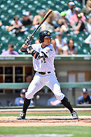 Charlotte Knights catcher Kevan Smith (32) awaits a pitch during a game against the  Gwinnett Braves at BB&T Ballpark on May 7, 2017 in Charlotte, North Carolina. The Knights defeated the Braves 7-1. (Tony Farlow/Four Seam Images)