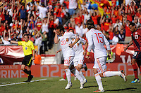 Santiago Cazorla (20) of Spain celebrates scoring. The men's national team of Spain (ESP) defeated the United States (USA) 4-0 during a International friendly at Gillette Stadium in Foxborough, MA, on June 04, 2011.