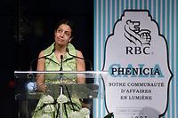 La Ministre Dominique Anglade au Gala Phenicia de la Chambre de Commerce LGBT du Québec, tenu au Parquet de la Caisse de Depots et Placements du Quebec, jeudi, 26 mai 2016.<br /> <br /> <br /> PHOTO : Pierre Roussel -  Agence Quebec Presse