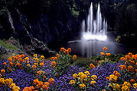 Butchart Gardens at Brentwood Bay near Victoria, BC, Vancouver Island, British Columbia, Canada - Ross Fountain, Summer Flowers
