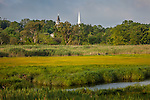 Steeples rise above Mill Creek marsh, Sandwich, Cape Cod, MA