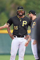 Pittsburgh Pirates Josh Bell (55) during the teams first Spring Training practice on February 18, 2019 at Pirate City in Bradenton, Florida.  (Mike Janes/Four Seam Images)