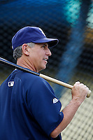 San Diego Padres Manager Bud Black #20 before a game against the Los Angeles Dodgers at Dodger Stadium on September 5, 2012 in Los Angeles, California. San Diego defeated Los Angeles 4-3. (Larry Goren/Four Seam Images)