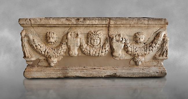 Roman relief sculpted garland sarcophagus, 3rd century AD. Adana Archaeology Museum, Turkey