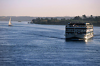 Cruise ship on the Nile river between Aswan and Kom Ombo, Egypt.