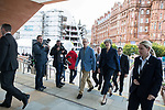 © Joel Goodman - 07973 332324 . 02/10/2017. Manchester, UK. Prime Minister THERESA MAY and husband PHILIP MAY enter the conference hall at the start of the second day of the Conservative Party Conference at the Manchester Central Convention Centre . Photo credit : Joel Goodman