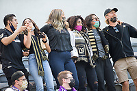 LOS ANGELES, CA - APRIL 17: Los Angeles Football Club supporters during a game between Austin FC and Los Angeles FC at Banc of California Stadium on April 17, 2021 in Los Angeles, California.