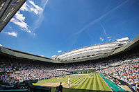 London, England, 6 th July, 2016, Tennis, Wimbledon, Overall view of Centercourt during the quarter final match between Roger Federer (SUI) and Marin Cilic (CRO)<br /> Photo: Henk Koster/tennisimages.com