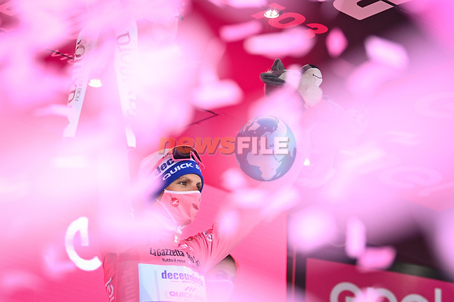 Race leader Joao Almeida (POR) Deceuninck-Quick Step retains the Maglia Rosa at the end of Stage 10 of the 103rd edition of the Giro d'Italia 2020, running 177km from Lanciano to Tortoreto, Italy. 13th October 2020. <br /> Picture: LaPresse/Massimo Paolone | Cyclefile<br /> <br /> All photos usage must carry mandatory copyright credit (© Cyclefile | LaPresse/Massimo Paolone)