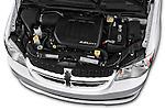 Car Stock 2018 Dodge Grand-Caravan SE 5 Door Minivan Engine  high angle detail view