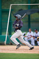 GCL Yankees West shortstop Sincere Smith (3) grounds out during the second game of a doubleheader against the GCL Braves on July 30, 2018 at Champion Stadium in Kissimmee, Florida.  GCL Braves defeated GCL Yankees West 5-4.  (Mike Janes/Four Seam Images)