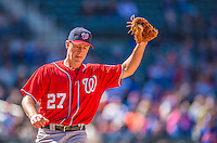 21 April 2013: Washington Nationals starting pitcher Jordan Zimmermann gets an out at first during a game against the New York Mets at Citi Field in Flushing, NY. The Mets shut out the visiting Nationals 2-0, taking the rubber match of their 3-game weekend series. Mandatory Credit: Ed Wolfstein Photo *** RAW (NEF) Image File Available ***