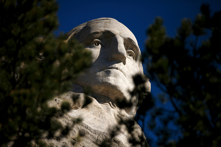 The carving of President George Washington is pictured at Mount Rushmore National Memorial in South Dakota on Sunday, May 21, 2017. (Photo by James Brosher)