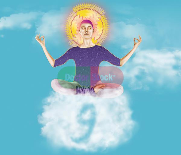 metaphorical illustration for floating on cloud nine