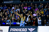 Fans celebrate during the National Basketball League match between Cigna Wellington Saints and Southland Sharks at TSB Bank Arena in Wellington, New Zealand on Friday, 7 May 2021. Photo: Dave Lintott / lintottphoto.co.nz