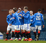 13.02.2021 Rangers v Kilmarnock: Ryan Jack takes the acclaim of his Rangers team mates after opening the scoring
