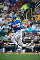 Toronto Blue Jays first baseman Chris Colabello (15) at bat during a Spring Training game against the Pittsburgh Pirates on March 3, 2016 at McKechnie Field in Bradenton, Florida.  Toronto defeated Pittsburgh 10-8.  (Mike Janes/Four Seam Images)