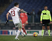 Football Soccer: Tim Cup semi-final second Leg, SS Lazio vs AC Milan, Stadio Olimpico, Rome, Italy, February 28, 2018.<br /> Milan's Alessio Romagnoli kicks a penalty during the shootout of the Tim Cup semi-final football match between SS Lazio vs AC Milan, at Rome's Olympic stadium, February 28, 2018.<br /> UPDATE IMAGES PRESS/Isabella Bonotto