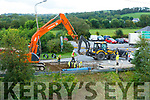 Kerry County Council repairing the burst water pipe in Farranfore Village on Tuesday