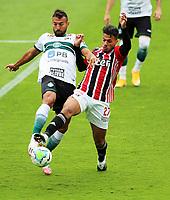 4th October 2020; Couto Pereira Stadium, Curitiba, Parana, Brazil; Brazilian Series A, Coritiba versus Sao Paulo; Ramón Martínez of Coritiba tackles Diego Costa of Sao Paulo