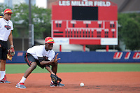 Under Armour All-American selection Nick Gordon of Olympia High School in Orlando, Florida fields the ball during a drill at the University of Illinois at Chicago on August 22, 2013 in Chicago, Illinois in preparation for the Under Armour All-American Game that will take place at Wrigley Field on August 24th.  (Mike Janes/Four Seam Images)