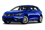 Stock pictures of low aggressive front three quarter view of a 2018 Seat Leon Xcellence 5 Door Hatchback