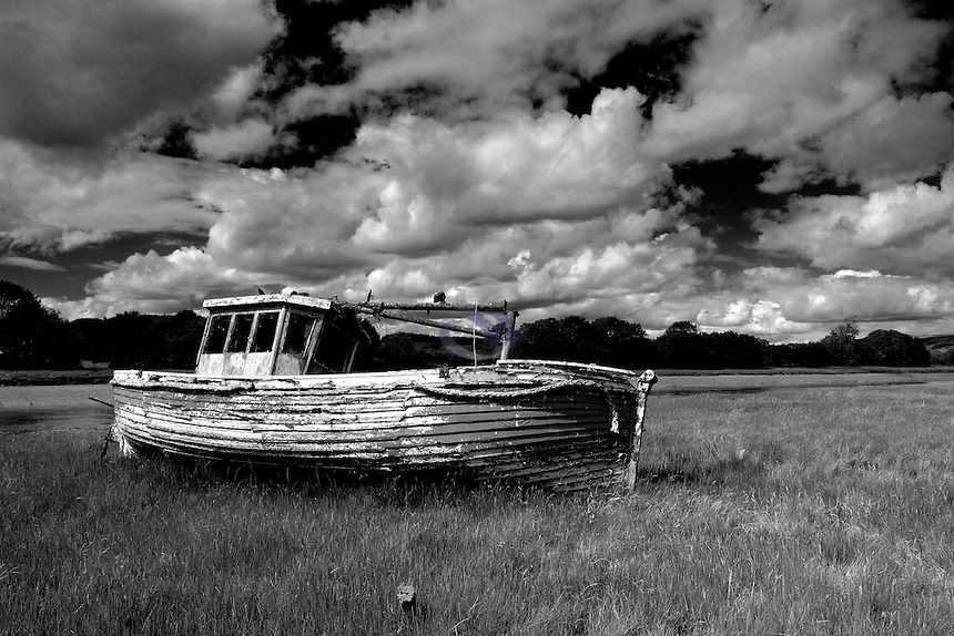 An old fishing boat beside the River Dee, Kirkcudbright, Dumfries and Galloway