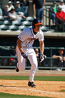 University of Virginia Cavaliers outfielder Cameron Simmons (20) at bat during a game against the Liberty University Flames at Joseph P. Riley Ballpark on February 17, 2017 in Charleston, South Carolina. Virginia defeated Liberty 10-2. (Robert Gurganus/Four Seam Images)